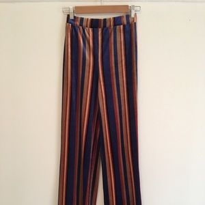 Forever 21 Velvet Striped Flared Pants - XS